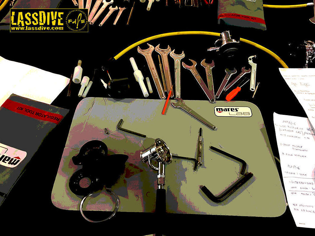 Maintenance and repair of diving equipment at Lassdive