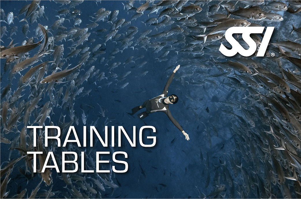 Training Tables SSI freediving Specialty course in Costa Brava